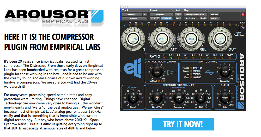 FINALLY! Distressor plugin version called « Arousor » is released by Empirical Labs!