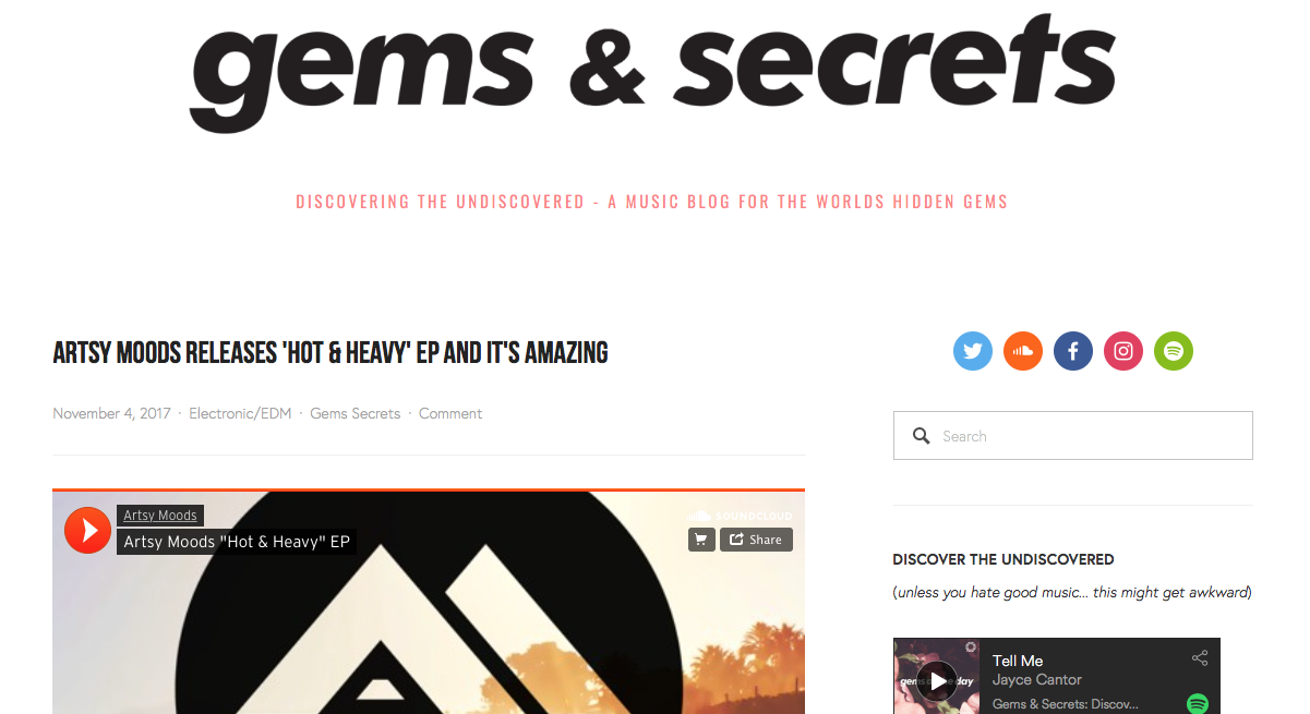 « Gems & Secrets » blog did a review for my EP « Hot & Heavy »!!