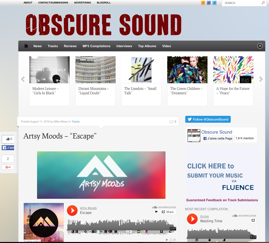 Artsy Moods track's «Escape» featured on the blog Obscure Sound!